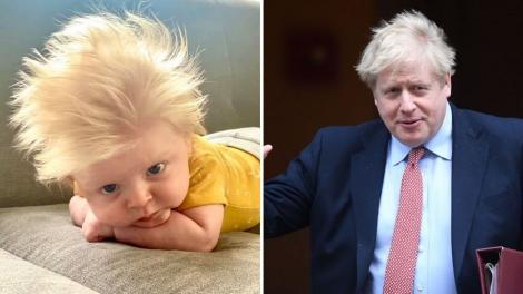 Colaj foto: in stanga, bebelusul, in dreapta, premierul britanic Boris Johnson