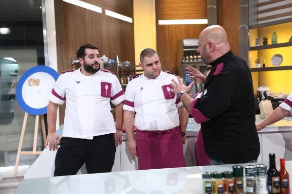 Vicenzzo Aiello, Alexandru Bădițoaia și Cătălin SScărlătescu, în platoul Chefi la cuțite