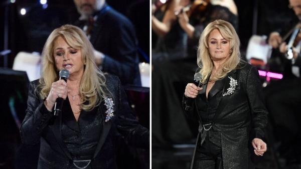 Colaj de două fotografii cu Bonnie Tyler în concerte