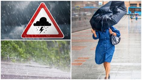 Colaj cu o femeie ținându-și umbrela șuată de vânt, un episod de grindină și un avertisment care semnalizaează apariția fulgerelor