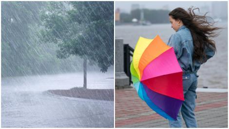Colaj cu ploaie și o fată ținându-și umbrela