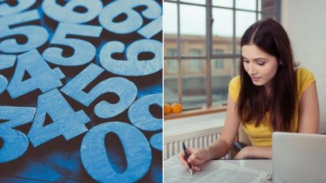 Colaj de două fotografii: în stânga, o poză cu numere, în dreapta, o poză cu o tânără la birou