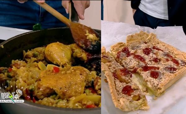 Paella de pui cu legume și tartă cu caise - prezentare