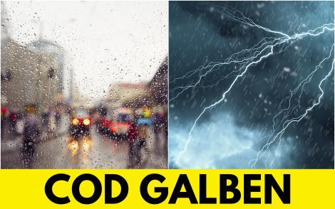 Alertă ANM! Meteorologii au emis un nou Cod Galben de vreme rea. Zonele afectate de ploi torențiale, fulgere, vijelii și grindină