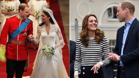 colaj de imagini cu printul william si kate middleton la nunta si o vizita oficiala