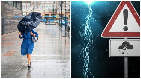 O femeie cu umbrelă și un semn ce avertizează vreme rea