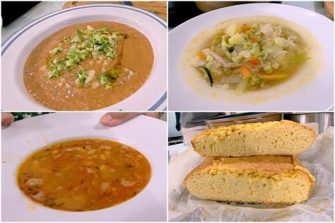Supă gazpacho, supă minestrone,supă de fasole și pită de mălai, preparate de chef Nicolai Tand