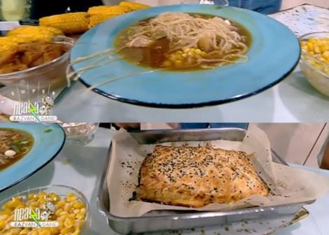 Supă de vară cu paste de orez și somon în crustă, preparate de chef Nicolai Tand