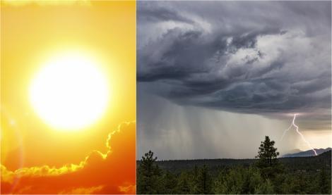 Alertă ANM! Cod Galben și Cod Portocaliu de caniculă și furtuni severe. Meteorologii anunță vijelii, grindină și ploi torențiale