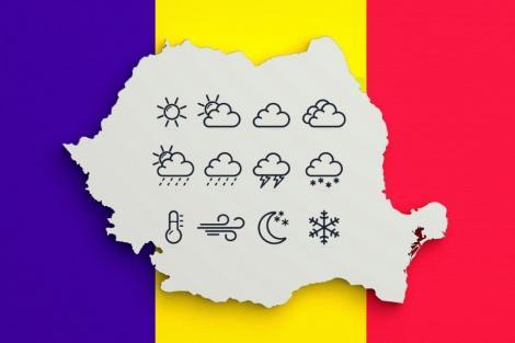 Contur de harta Romaniei, cu diferite fenomene meteorologice