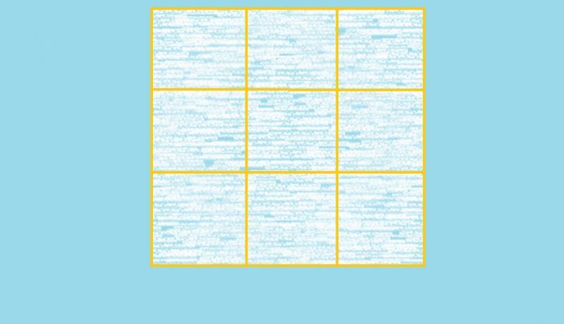 imagine cu un patrat impartit in alte 9 patrate mai mici, pe fundal albastru