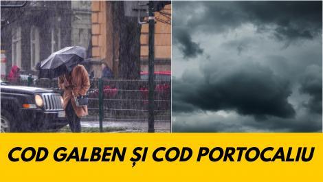 Alertă ANM! Cod galben şi Cod portocaliu de ploi abundente. Ce zone sunt afectate de vreme rea