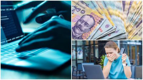 Colaj cu bani românești, card bancar și laptop pe care se face fraudă