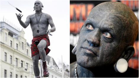 Lucky Diamond Rich e cel mai tatuat om din lume. Cum arăta înainte să se transforme complet