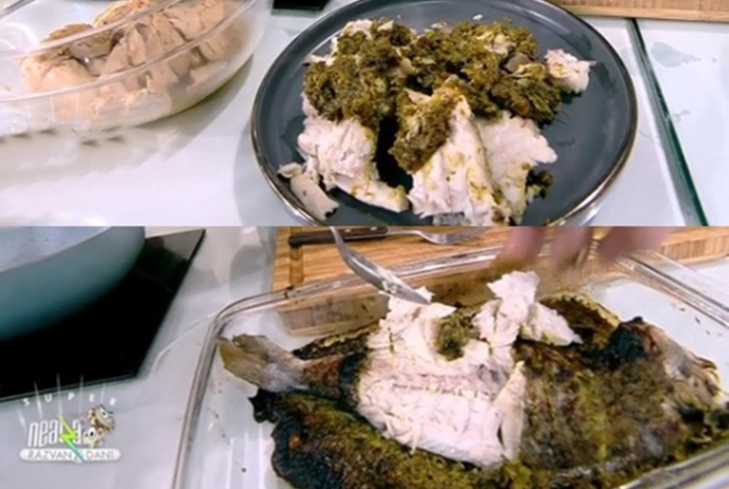Pește dorada preparat la cuptor în crustă de sos pesto din rucola