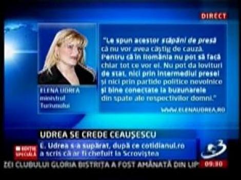 "Elena Udrea: ""Ziaristii de azi scriu doar ce le dicteaza sefii"""