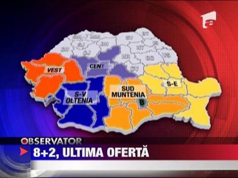 Traian Basescu vrea ca noua harta a Romaniei sa fie impartita in opt regiuni si doua judete