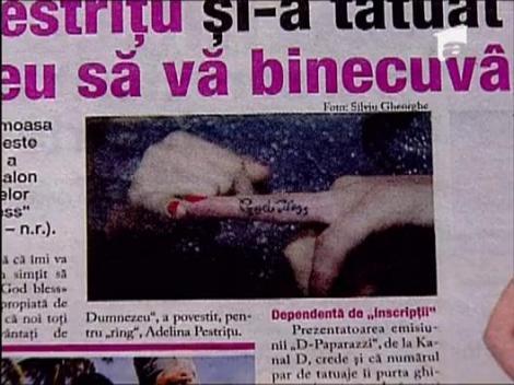 "Adelina Pestritu si-a tatuat pe un deget: ""Dumnezeu sa va binecuvanteze"""
