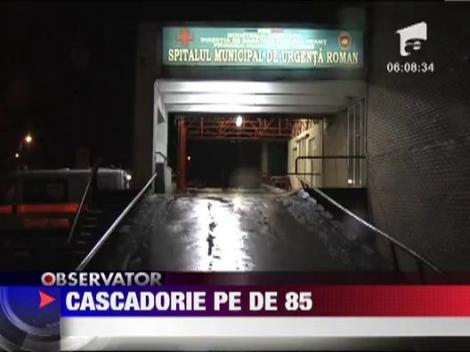 Cascadorie cu masina la intrarea orasului Roman