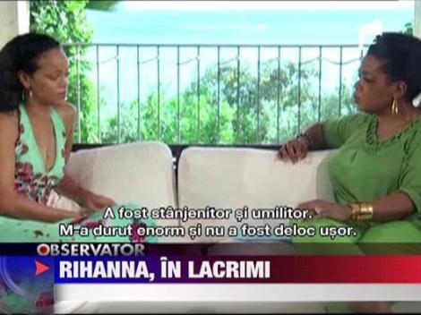 Rihanna a plans in fata lui Oprah, cand si-a amintit de bataia primita de la Chris Brown, fostul sau iubit