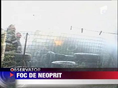 Incendiu puternic la o fabrica de cauciucuri, in Constanta