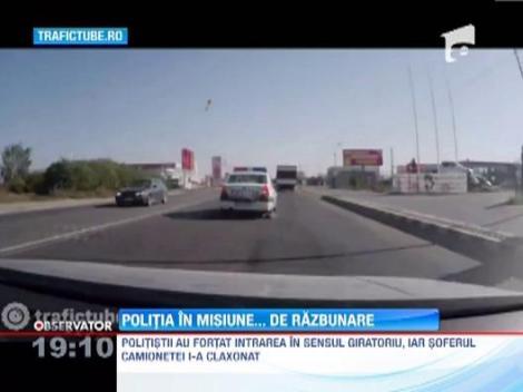 Un echipaj de politie a urmarit in trafic un sofer care indraznise sa claxoneze