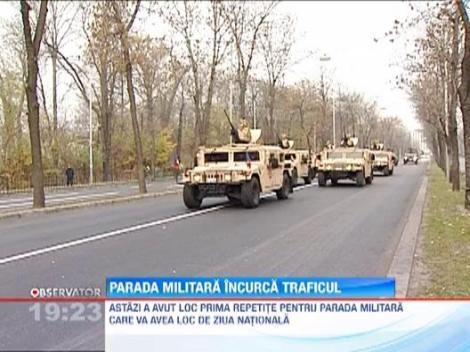 Parada militara incurca traficul. Repetitiile pentru 1 Decembrie au schimbat traseul soferilor