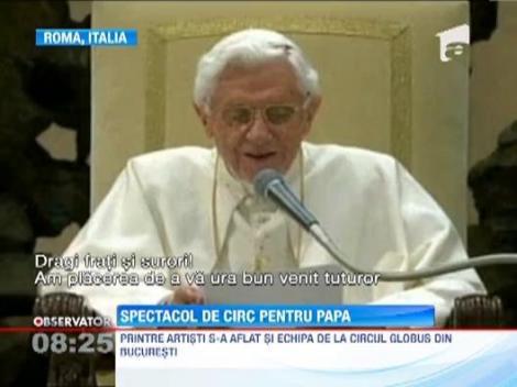 VIDEO! Spectacol de circ pentru Papa Benedict al XVI-lea. Suveranului Pontif a mangaiat un pui de leu
