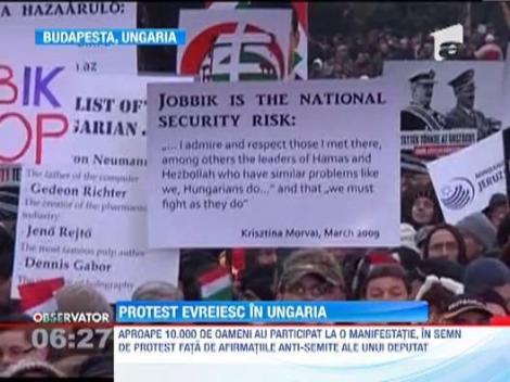 Protest de amploare in Budapesta. Mii de oameni au condamnat declaratiile antisemite ale unui parlamentar Jobbik