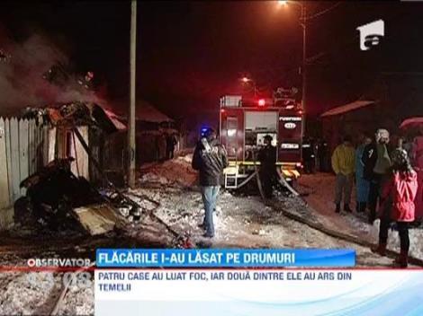 O soba defecta a provocat un incendiu violent in nordul Capitalei. Patru case au fost facute scrum