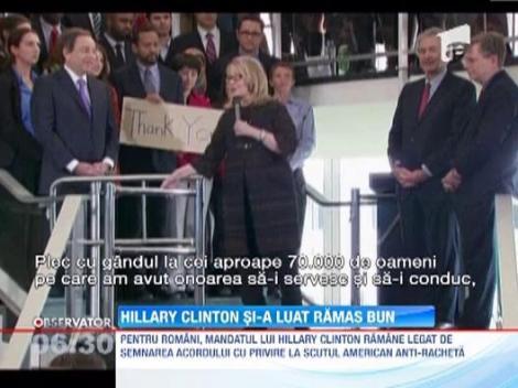 Hillary Clinton si-a incheiat mandatul printr-o ceremonie emotionanta la Departamentul de Stat