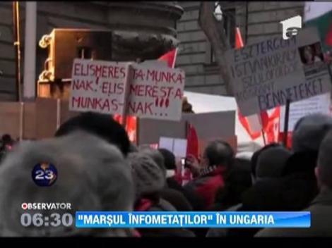 """""""Marsul infometatilor"""", in Ungaria. Aproape o mie de manifestanti au sosit, ieri, in fata parlamentului din Budapesta dupa ce au parcurs 300 de kilometri in zonele sarace"""