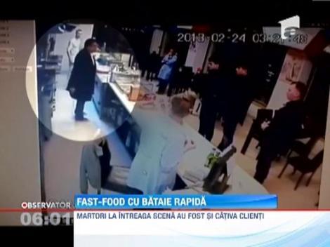 Momente de groaza pentru clientii unui fast-food din Constanta! Un barbat a intrat in local si a inceput sa ia la bataie angajatii