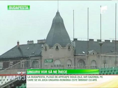 """Gazon periculos! Budapesta asteapta """"tricolorii"""" cu un teren imbibat cu apa"""