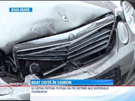 Beat crita la volanul unui camion, pe strazile din Baia Mare