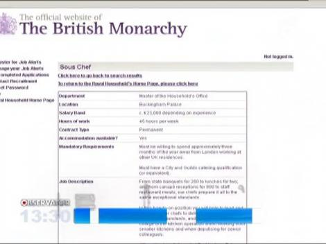 Palatul Buckingham cauta bucatar regal: 2.300 de euro salariul