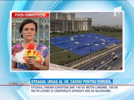 Cadou pentru UE de la Antena 3: Un steag de dimensiuni impresionante! Urmeaza drapelul Romaniei!
