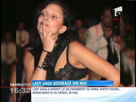 Lady Gaga s-a facut bruneta si si-a pus cercel in nas