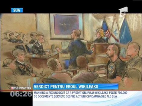 Bradley Manning, soldatul american care a furnizat  mii de documente secrete sitului Wikileaks, gasit vinovat de furt si spionaj