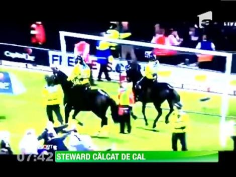 Scene socante la un meci din Cupa Angliei!  Un steward a fost calcat in picioare de un cal