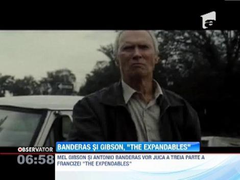 "Antonio Banderas si Mel Gibson vor juca in partea a treia a seriei  ""The Expendables"""