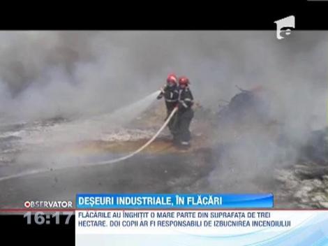 Incendiu puternic pe o rampa de deseuri industriale situata in apropiere de Baia Mare