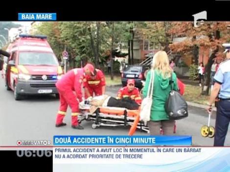 Doua accidente rutiere in 5 minute, in fata unei biserici din Baia Mare