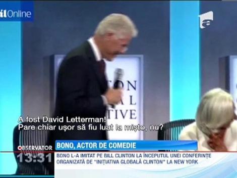 Bono de la U2 este si actor! L-a imitat impecabil pe fostul presedinte american Bill Clinton