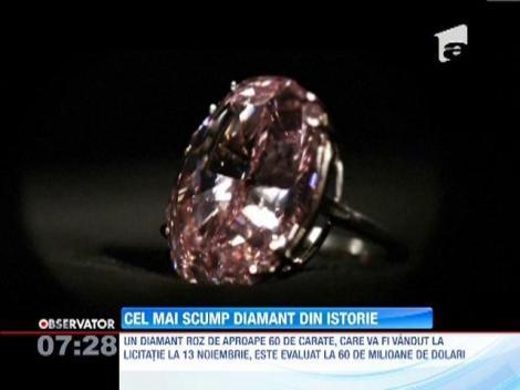 Cel mai scump diamant din istorie, evaluat la peste 60 de milioane de dolari