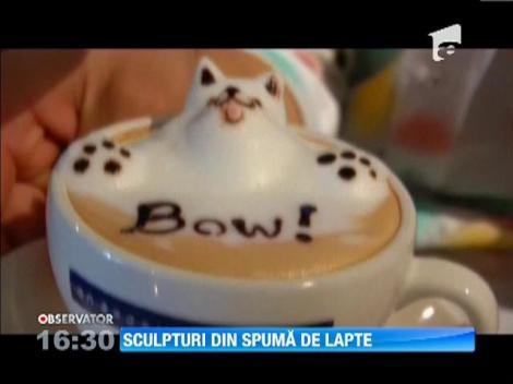 Arta in ceasca de cafea: Cele mai HAIOASE sculpturi din spuma de lapte