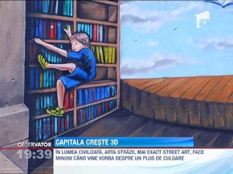 Capitala creşte 3D! Câţiva artişti au realizat prima pictură tridimensională pe o şcoală din România!