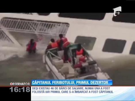 Căpitanul feribotului naufragiat in Coreea de Sud, primul care a părăsit vasul. Cu singura barcă lăsată la apă!