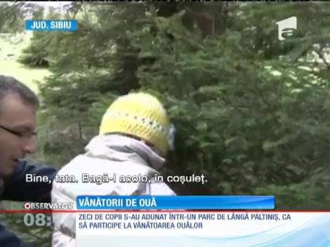 Copiii din Sibiu au pornit la vânătoarea de ouă de ciocolată
