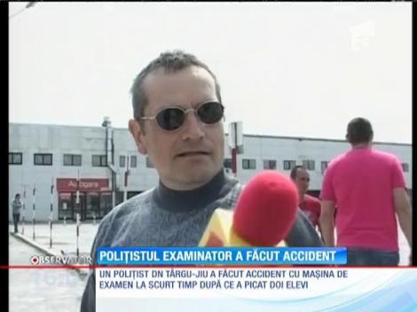 Un poliţist din Gorj a făcut accident cu maşina de examen